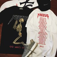 Wholesale skull indian - popular yeezus tour short sleeve t-Shirt skull ghost Merch Indian Headdress t shirt tee kanye west clothing cotton tee