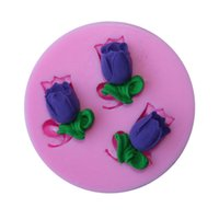 novos moldes de chocolate venda por atacado-New threee Arylic Resina Flores molde de silicone, moldes fondant, ferramentas sugarcraft, ferramentas de decoração do bolo de chocolate molde TY1788