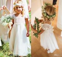 şirin şifon elbiseleri toptan satış-Bohemia Dantel Şifon A Hattı Çiçek Kız Elbise Kısa Kollu Ülke Gelinlik Çocuklar Için Sevimli Uzun İlk Communion Elbiseler