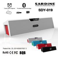 ingrosso casella di amplificazione audio-Altoparlante portatile stereo Sardine SDY-019 Bluetooth HIFI senza fili 10w USB Amplificatore Stereo Altoparlante Scatola audio con microfono Radio FM
