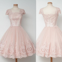 Wholesale Sleeved Formal Gowns - Lace Vintage Homecoming Dresses 2017 Square Neck Cap Sleeved Appliques Prom Gowns Tulle Knee Length Light Pink Formal Party Dress