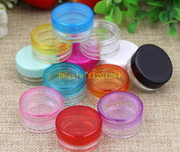 Wholesale Eyeshadow Box Empty - 120pcs lot 5g 5ml Clear Plastic jar, empty cosmetic containers,Eyeshadow Cream Box ,Sample Makeup Sub-bottling nail powder case