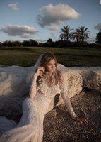 best wedding dress wrap bust - Idan Cohen 2017 Sheer High Neck Hem Lace Mermaid Wedding Dresses Open Bust Backless Court Train Illusion Tulle Long Sleeve Bridal Gowns