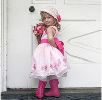 robes de mariée princesse brodées achat en gros de-Superbe Rose Brodé Robes De Fille De Fleur Pour Le Mariage