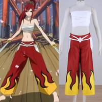 аниме аниме комплект оптовых-Японский аниме Fairy Tail Косплей Эрза Алый костюм Белый топ + красные штаны в комплекте для взрослых