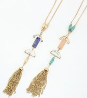 Wholesale Gold Jewelry Chain Roll - Multi semi stones tassel pendant necklace natural stone mosaic jewelry long tassel luxurious roll bead necklace horn delicate design