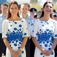 Wholesale Kate Middleton Sheath Dress - Kate Middleton Dress Blue Flower Printing Dress Women Slim OL Fashion Hot Sale Asian Size 1413