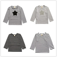 Wholesale Long Sleeve Boys Star Shirt - Stripe Embroidered Children Long Sleeve T Shirt Star Kid Clothes 2016 Autumn New Cotton T-shirt Boys Tops Girls Tees Classic Black White