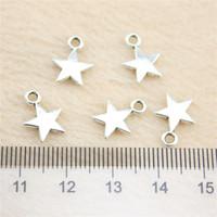 çinko kolye yıldızı toptan satış-120 Adet 11 * 8mm antik Gümüş Tonetiny yıldız Charms Çinko Alaşım DIY El Yapımı Takı Kolye Toptan