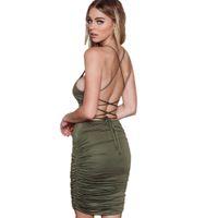 Wholesale Low Back Club Dress - Low Cut Ruched Sexy Backless Spaghetti Strap Sling Green Bodycon Bandage Sun Party Club Wear Slip Mini Dress Women Open Back