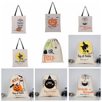 Wholesale Cotton Candy Shop - Halloween Candy Handbag Shopping Cotton Canvas Tote Bag Shoulder Bags Treat Canvas Satchel Rucksack Pocket Drawstring bag 36*44cm KKA2394