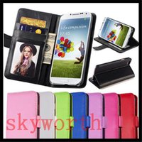 Wholesale Galaxy S3 Flip Case Stand - Flip Wallet Leather Case Card Slot Photo Frame Stand For iphone 6 6S 4S 5S 5SE Samsung Galaxy S3 S4 S5 Mini Touch5