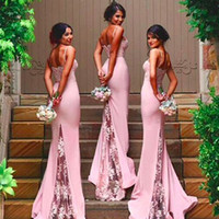 Wholesale Long Jersey Bridesmaid Dresses - Elegant Lace Mermaid Bridesmaid Dresses 2016 Spaghetti Sweetheart Crystal Sheer Long Train Evening Gown Black White Pink Jersey Party Prom