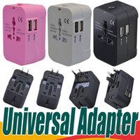 Alles in einem Universal International Plug Adapter Dual USB Port World Travel Wechselstrom Ladegerät Adapter mit AU UK UK EU Konverter Stecker