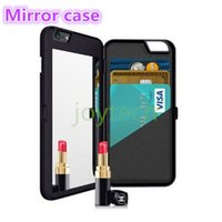 Wholesale Magic Girl Iphone Leather - For iphone 7 7plus iFrogz Charisma Magic Mirror Case MultiFunction Wallet ID Card Slot Holder PC Cases Girls Cosmetic Mirror back Cover