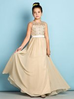 Wholesale Girls Coral Chiffon Dresses - Champagne Lace Junior Bridesmaid Dresses 2016 Floor-length Chiffon Long A-line Scoop Flower Girls Dresses For Bridesmaids Cheap