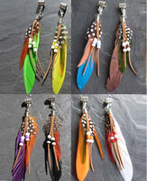 Wholesale Dangling Hair Accessories - Dreadlock Feather Tribal Festival Hippy Feather Dangle Hair Braid Dread Bead 6mm of Hole Hair Beads