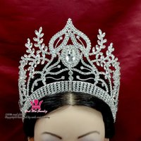 Wholesale Prom Hair Clips - Thinestone Crowns Tiaras Lager Adjustable Miss Pageant Bridal Wedding Queen Princess Party Prom Night Clup Show Headdress Hair Clip Mo040