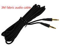 cable de acceso al por mayor-Nuevo Woven Universal Long 3m 5m 7m Negro Jack de audio de 3.5 mm macho a 3.5 mm Cable de audio estéreo auxiliar de audio para mp3 ipod altavoz de audio