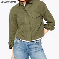 Wholesale Ladies Military Style Jackets - Women Army Jacket Military Style Short Spring & Autumn Jackets & Coats New 2016 Ladies Army Green Jacket Turn Down Collar