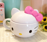 Lovely hello Kitty child Feeding Cup Animal de dibujos animados cubierto con asas Botella de agua para niños Taza para beber Copa de leche No tóxico