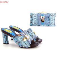 Wholesale African Fabric Shoes - Free ship many colors available italian shoes and bag matching set for african asoebi lace fabric party mix orde AB8