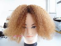 renk 27 kıvırcık toptan satış-Moğol kinky kıvırcık saç atkı saç uzantıları işlenmemiş kıvırcık sarışın 27 # renk insan uzantıları boyalı olabilir