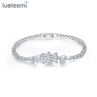 Wholesale Jewellery Clasps China - LUOTEEMI Outstanding White Gold-Color Bridal Gift Clear Cubic Zirconia Women Bracelet Bangle For Wedding Party Jewellery