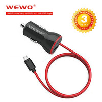 Wholesale Iphone Uk Charger Cable - WEWO Smallest Single USB Car Charger Fast Travel Charger Adapter Plug 2.1A with IOS and Micro USB Cable with Retail Box