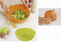 lavagem de arroz venda por atacado-Multifunções Silicone cozinha cesta de drenagem de arroz lavar legumes e cestas de frutas tampa do prato de microondas