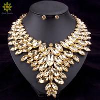 afrikanische perlen halsketten großhandel-6 Farben Afrikanische Perlen Schmuck Sets Hochzeit Halskette Frauen Schmuck Set Vergoldete Kristall Halskette Und Ohrringe