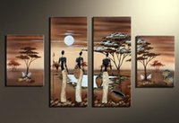 Wholesale Images Group Fashion - handpainted African Woman image pine tree wood Modern group Oil Painting On Canvas for sale online
