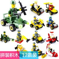 plastik eğitici oyuncakları bloke eder toptan satış-Bebek eğitim blokları monte mücadele takılı plastik oyuncak yapı Çeşitli blokları araba oyuncak 12 adet / grup E849