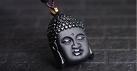 Wholesale Carved Buddha Jewelry - Obsidian Carved Buddha Pendant Necklace Unique Crystal Black Stone Bead Chain Lucky Amulet For Women Men Sakyamuni Fashion Women Jewelry