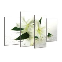 Wholesale Lily Flower Wall Canvas - Hot sell 4 panels lily flowers modern art canvas wall paintings wall pictures for living room canvas prints cuadros decorativos h 077