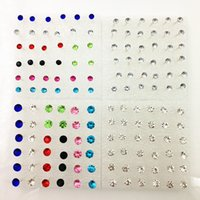 Wholesale Sending Earring Boxes - 18 pairs of boxed Korean earrings men and women color diamond earrings anti-allergic stalls plastic earrings to send ear plugs