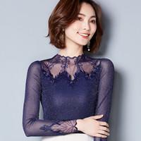 Wholesale Lace Long Underwear - Autumn New Korean Lace Shirt Fashion Net Yarn Shirts Stand Collar Panelled Long Sleeve Blouse Slim Underwear Women Blouses 5 Colors