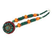 Wholesale Silver Turquoise Coral Tibetan Bracelet - 18'' Ethnic Green Turquoise Amber Necklace Tibetan Round Pendant JEWELRY