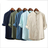 traditional chinese clothes - Mr Young Men Linen Shirts Long Sleeve Chinese Style Traditional Kung Fu Tang Casual Social Shirt Design Swag Yoga Brand Clothing