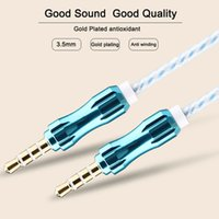 Wholesale 5FT M mm Car Audio AUX Extention Cable Braided Woven wire Auxiliary Stereo Jack Male Lead for Iphone plus Mobile Phone Speaker