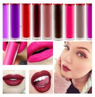lápices labiales impermeables al por mayor-Cosméticos profesionales Maquillaje Mate Impermeable Brillo labial Riot Malvado Cachemira Blanqueado Rosa Terciopelo Mate Lápiz labial líquido