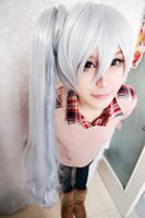 2016 Meilleures ventes magasin dong1235 perruque shoposplay RWBY Weiss Schnee Blanc Ice Blue long Ponytail Lolita Anime parti perruque