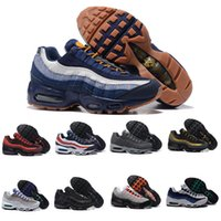 Wholesale Lime Green Boots - 2017 Men Retro 95 OG Cushion Navy Sport Air High-Quality Chaussure 95s Walking Boots Men Casual Shoes Air Cushion 95 Sneakers Size 40-46