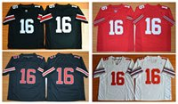 Wholesale Boys Size 16 - American Football college stitched mens sports Jerseys 2016 Final J. T. Barrett #16 Ohio State Buckeyes embroidery size S-XXXL