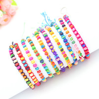 Wholesale Matches Charm - 10 Colors Bohemia Mix Match Mead Friendship Bracelets for Women Colorful wooden Beads Bracelets & Bangles Pulseras Mujer