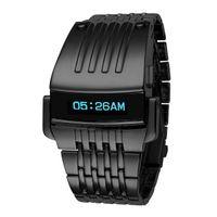 digitales handgelenk großhandel-Hohe Qualität NEUE Mode Luxus Iron Man Konzeption Blau OLED LED Digital Sport Armbanduhr Herren Edelstahl Uhren Relogio Masculino