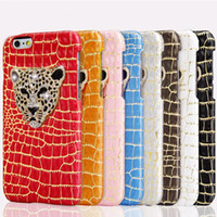 Wholesale Leopard Diamond Case Iphone - Luxury 3D Metal Leopard Head with Bling Diamond Phone cases Snake Pattern Leather Back Cover Case For iphone 5 6 plus 6s plus Capa