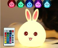 carga usb Control remoto al por mayor de la descoloración de la patente Multi Lovely Conejo Lámpara de luz Cambio de color LED Lámpara Noche Baby Sleeping Home Deco