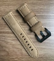 Wholesale Deployment Black Leather Strap - brand ocysa brown black Crazy horse leather genuine watches belt watch strap ocy002 24mm 26mm fit for Panerai pam