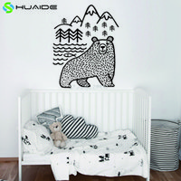 Wholesale Bear Wall Decals - Large Black Bears Fish Mountain Wall Sticker Art Decals Diy Home Decor New Design Vinyl Wall Tattoo Vinilos Paredes Mural D 859